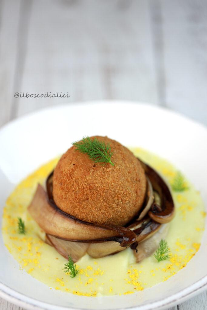 Scotch egg con radicchio tardivo confit e patate all'arancia